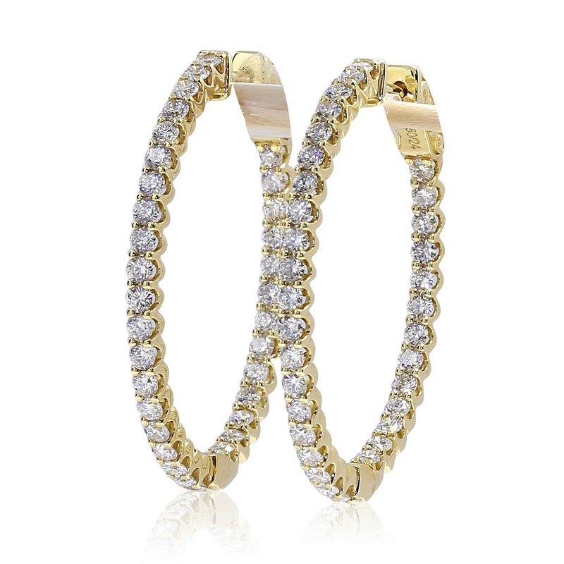 London Gold Designs 2.30cttw Diamond Hoops 14KY