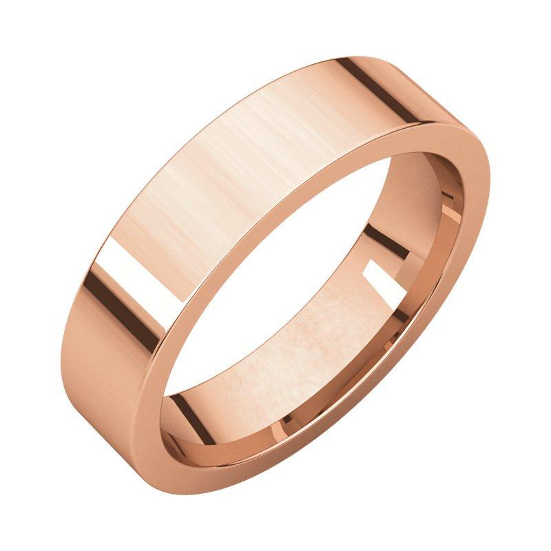 Gallery Designs 14K Rose 5mm Flat Comfort Fit Band
