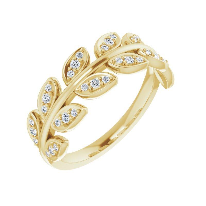 Gallery Designs Diamond Leaf Band 14KY