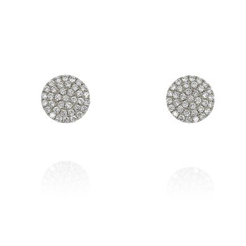 Small Pave Disc Earrings 18KW