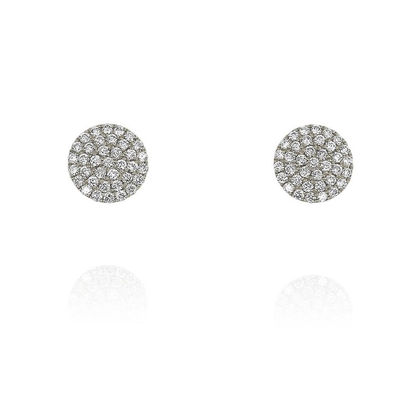 Yael Designs Small Pave Disc Earrings 18KW