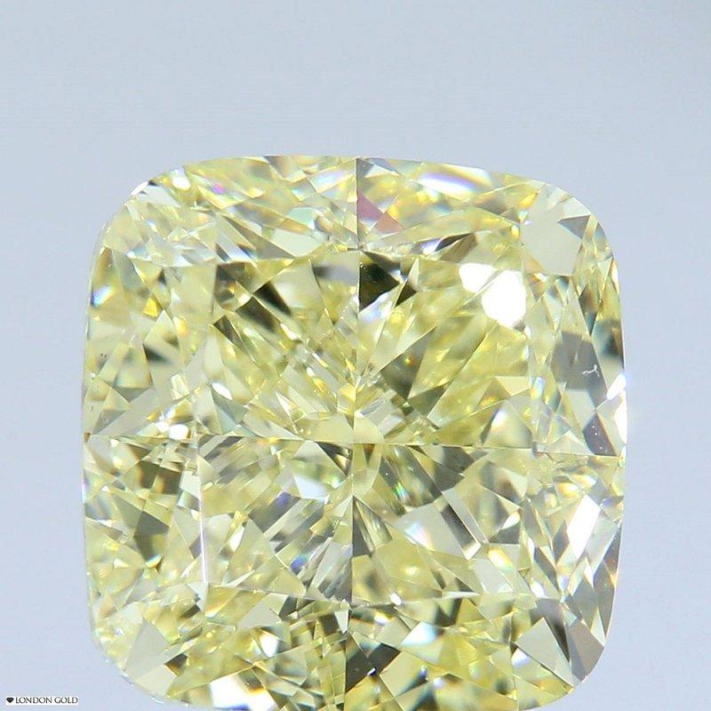 Colored Diamonds 5.04 Cushion Fancy Yellow-VS2
