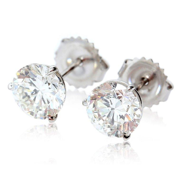 London Gold Designs 3.00cttw Round Diamond Studs GIA