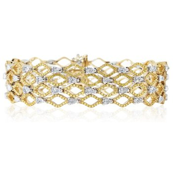Open Work Diamond Bracelet 18K