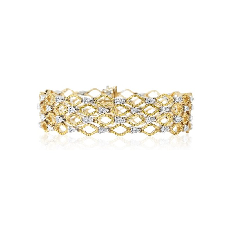 London Gold Designs Open Work Diamond Bracelet 18K