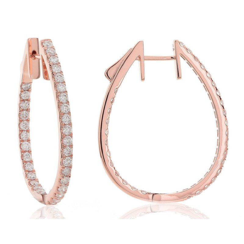 London Gold Designs Diamond Inside-Out Hoops 18KR