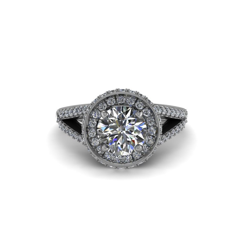 Daniels Designs Round Diamond Halo Engagement Ring