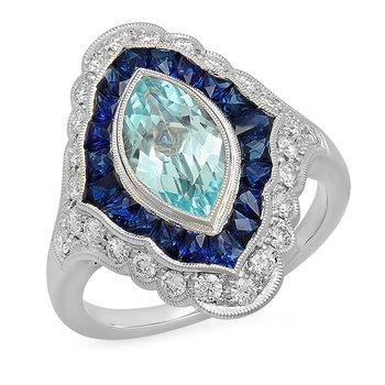 Vintage Aquamarine & Sapphire Ring
