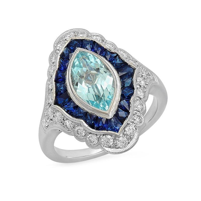 Beverley K Vintage Aquamarine & Sapphire Ring