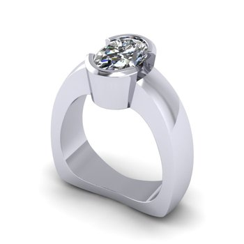 Half Bezel Solitaire Ring - Custom Order