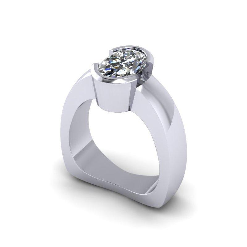 Lunaria Half Bezel Solitaire Ring - Custom Order