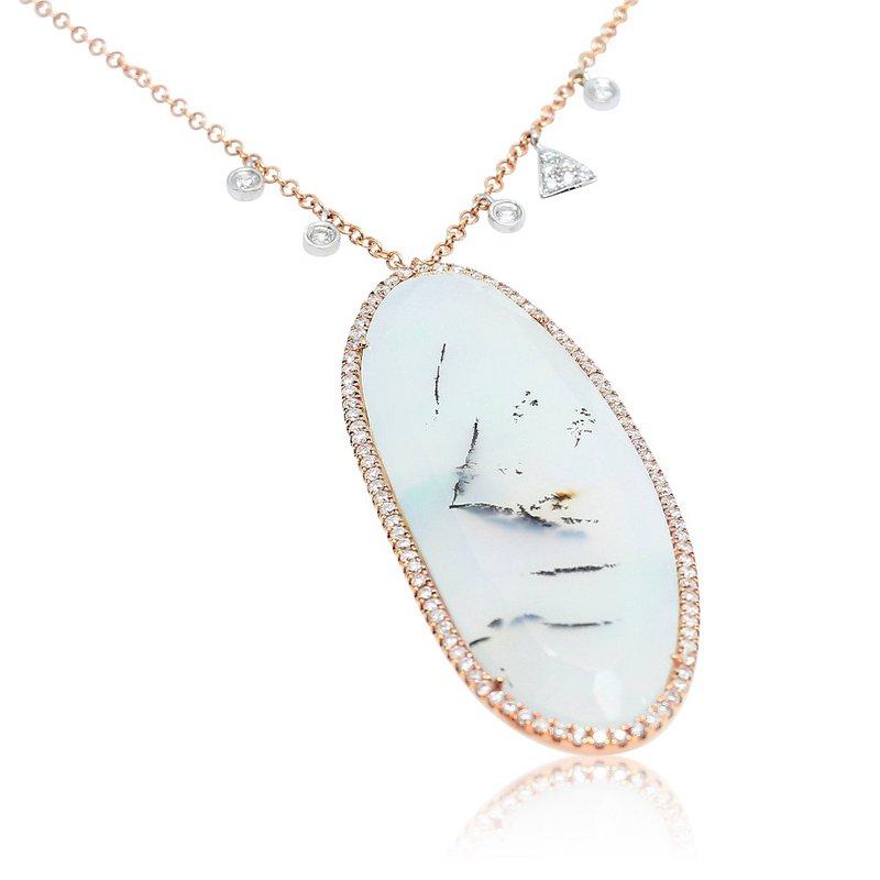 Meira T Chrysoprase Halo Necklace 14KR