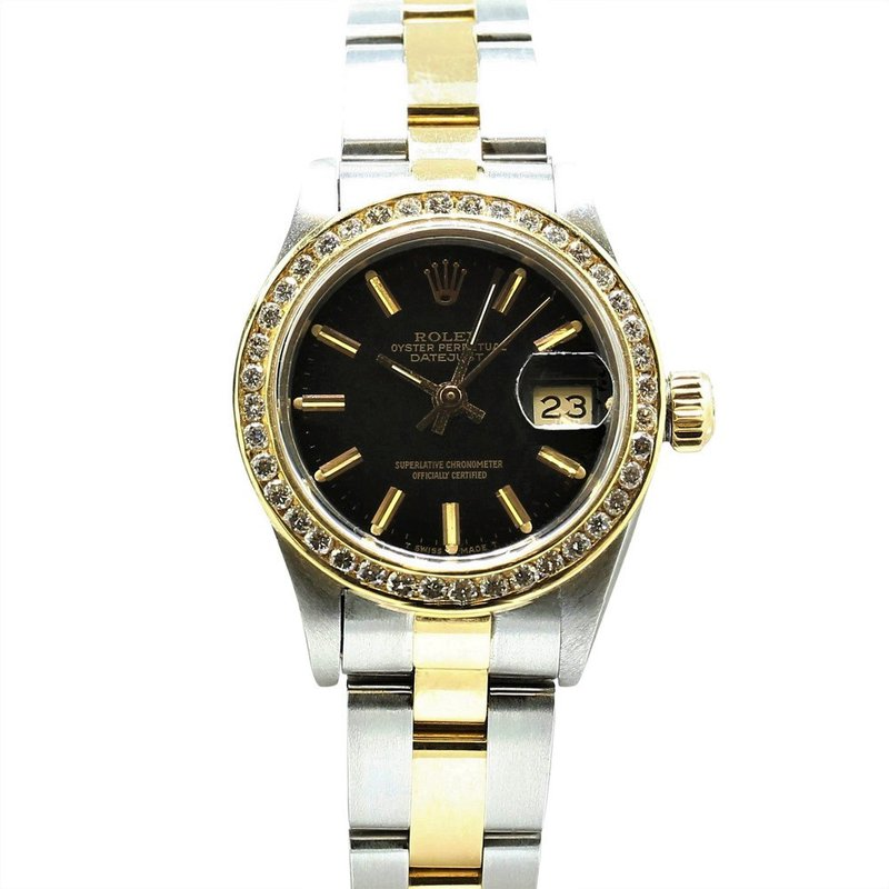 Rolex Pre-Owned Watches Lady Date 18KY & Steel Custom Dial 69160