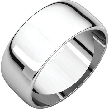 14K White 8mm Half Round Light Band