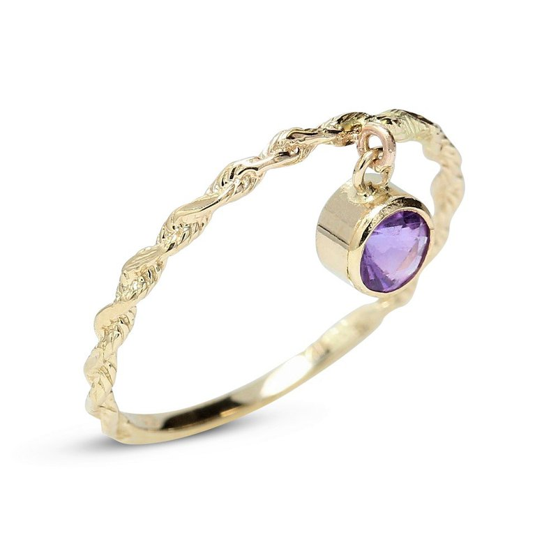 Gravity Amethyst Rope Ring 14KY