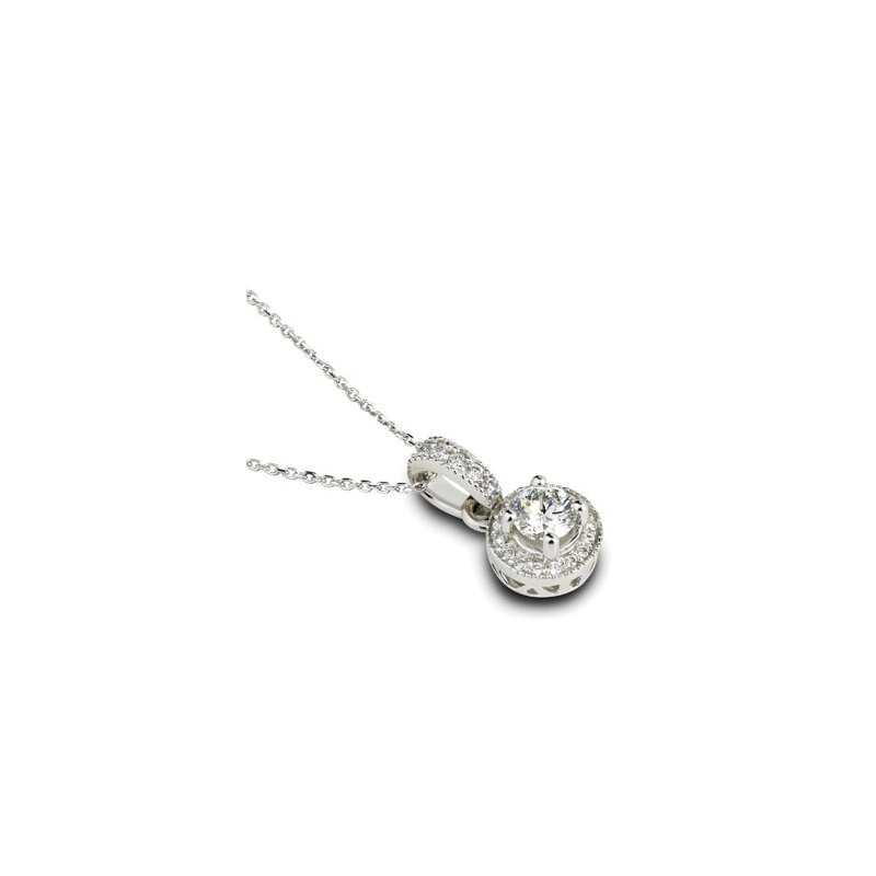London Gold Designs Halo Diamond Pendant