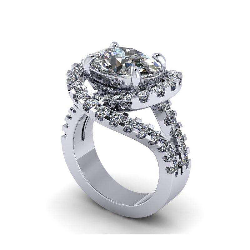 Lunaria Oval Split Shank Engagement Ring