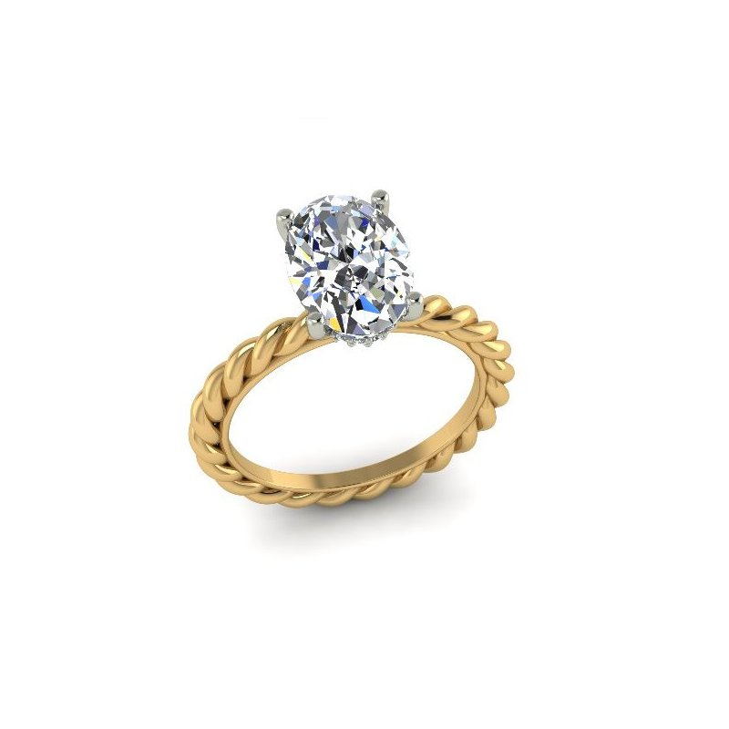 Ascencio Designs 2mm Rope Solitaire Ring 14KY - Custom Order