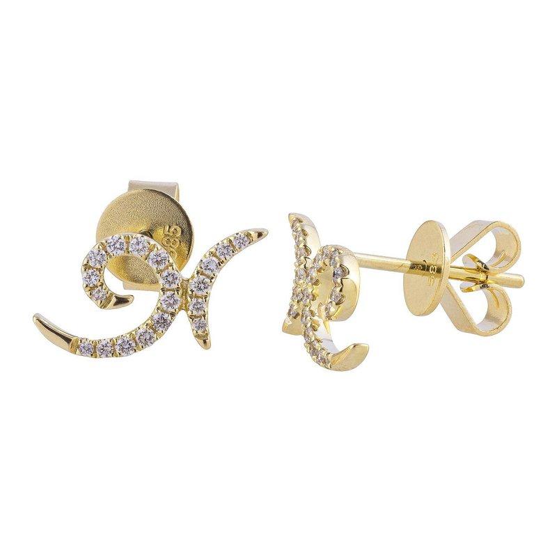 Sophia by Design Swirl Diamond Earrings 14KY