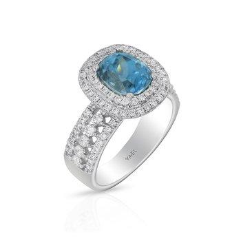 Blue Zircon Ring 18KW