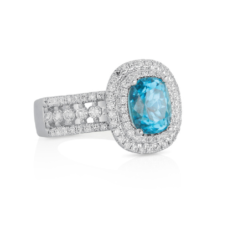 Yael Designs Blue Zircon Ring 18KW