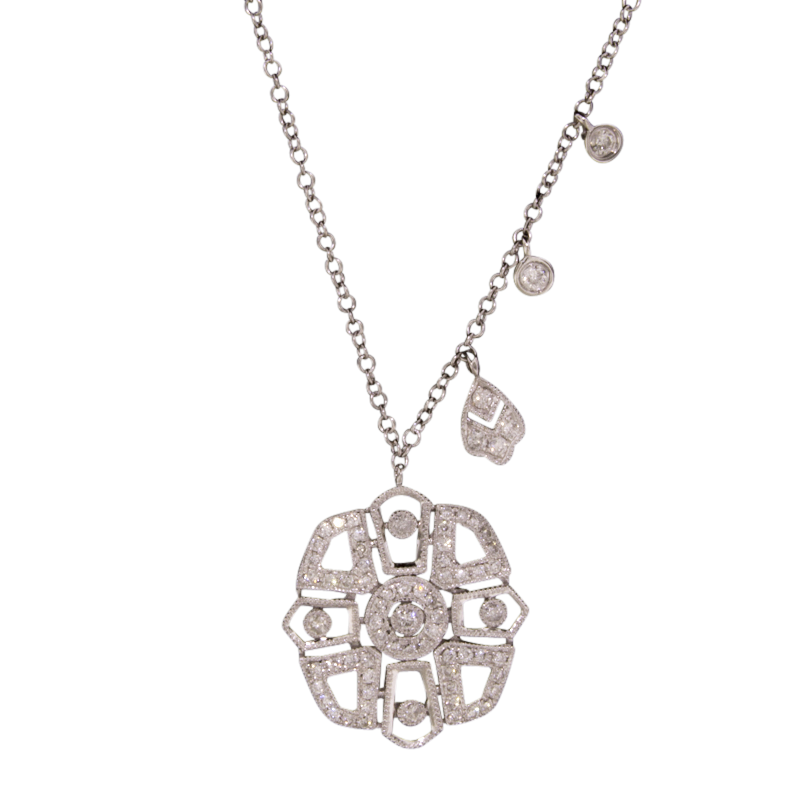 Meira T Art Deco Style Diamond Necklace