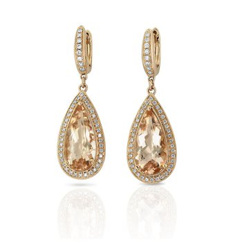 Morganite & Diamond Dangles 18KR