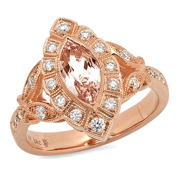 Marquise Morganite Ring 18KR - Special Order
