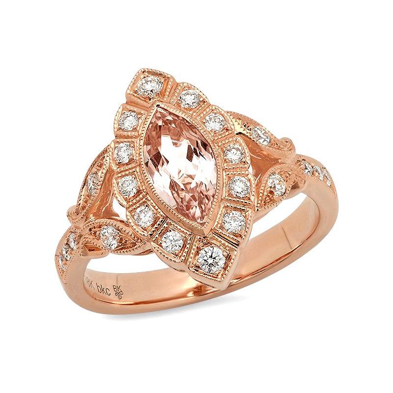 Beverley K Marquise Morganite Ring 18KR - Special Order