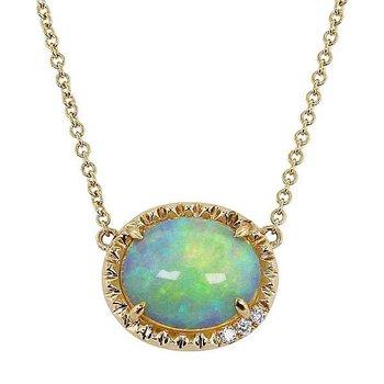 Oval Opal Necklace 14KY