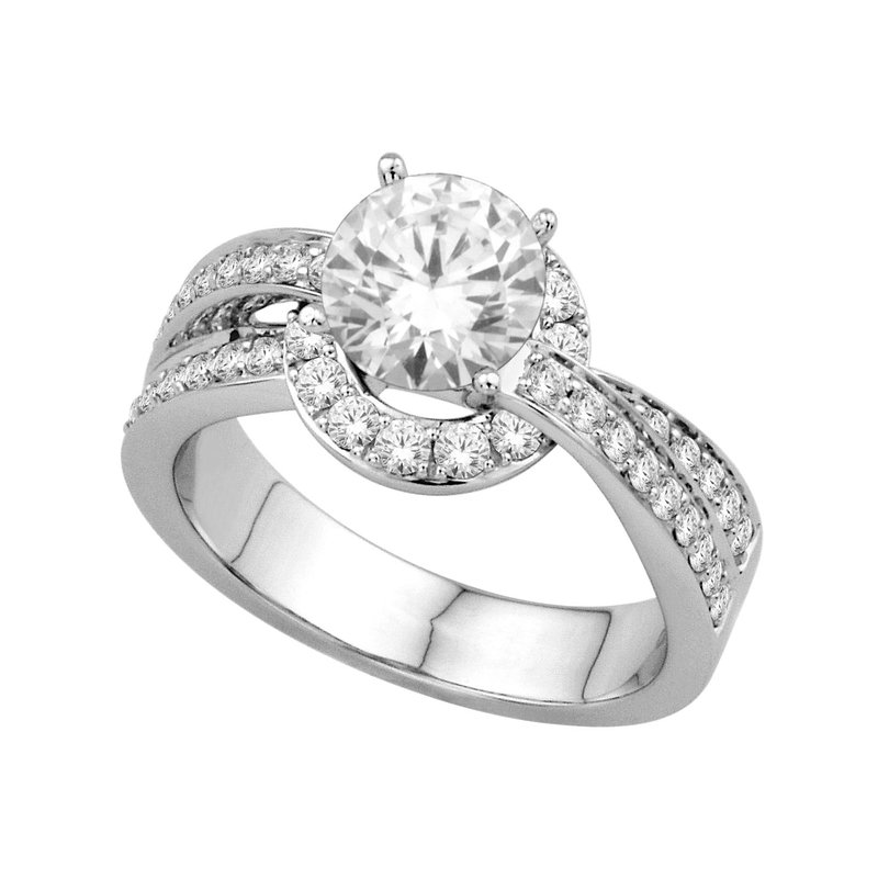 Isadora Halo Engagement Ring 18KW - Setting Only