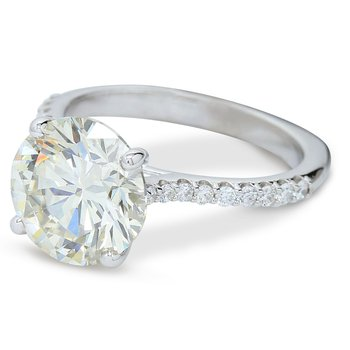 4.19ct Cathedral Style Engagement Ring 14KW