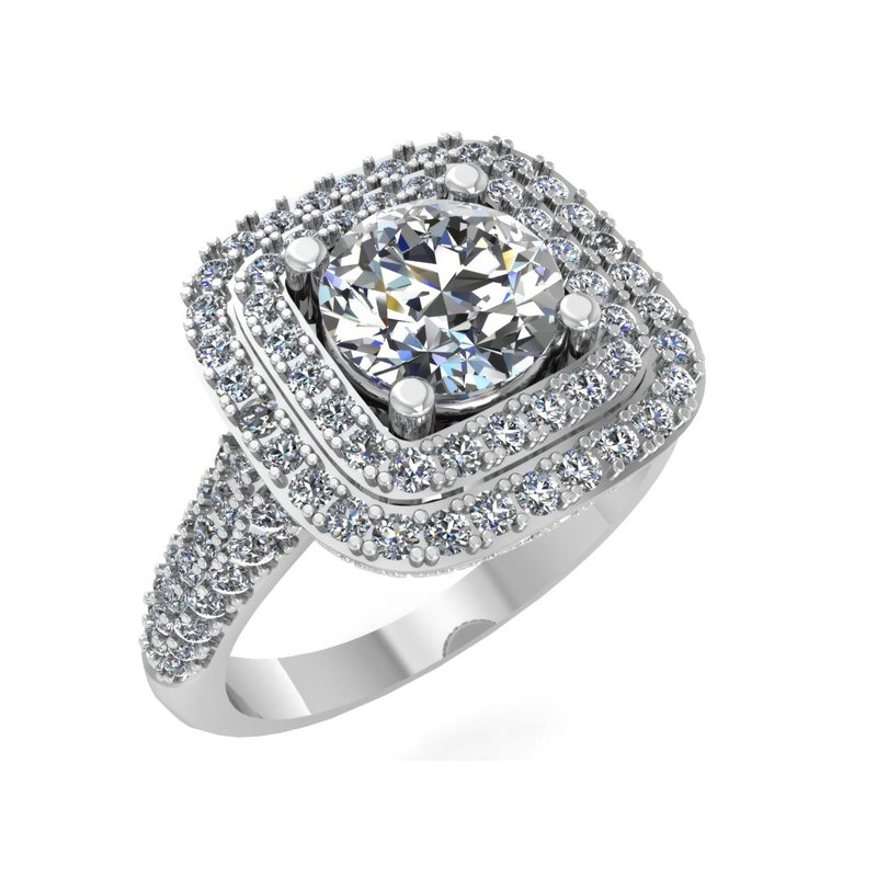 Isadora Double Halo Engagement Ring - Setting Only