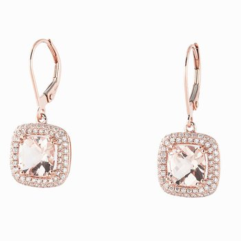 Morganite & Diamond Halo Dangles