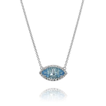 Marquise Blue Topaz Necklace 14KW