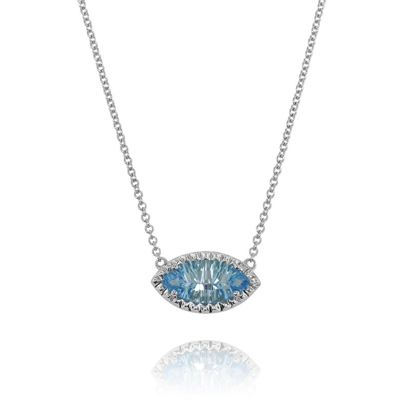 Yael Designs Marquise Blue Topaz Necklace 14KW