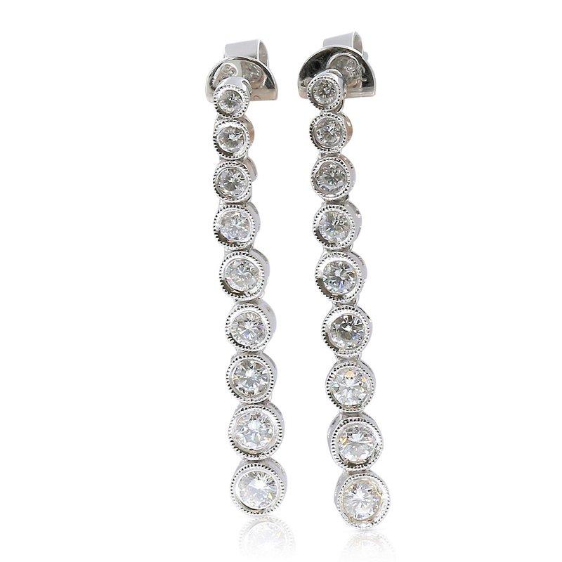 Estate Jewelry Milgrain Dangles 18KW