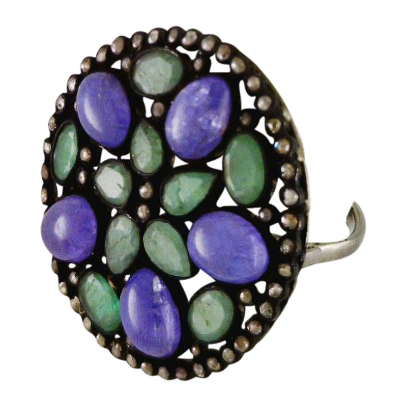 Reva Chalcedony and Emerald Ring