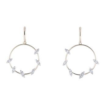 Circle Diamond Dangles 14KY