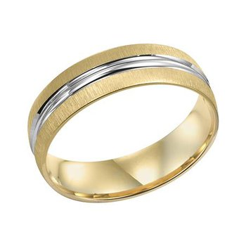 14K Two-Tone Comfort Fit Engraved Wedding Band