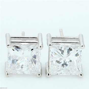 4.04 Princess Cut Clarity Enhanced Diamond Studs
