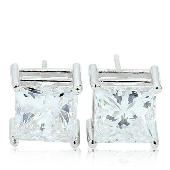 4.04 Princess Cut Clarity Enhanced Diamond Studs