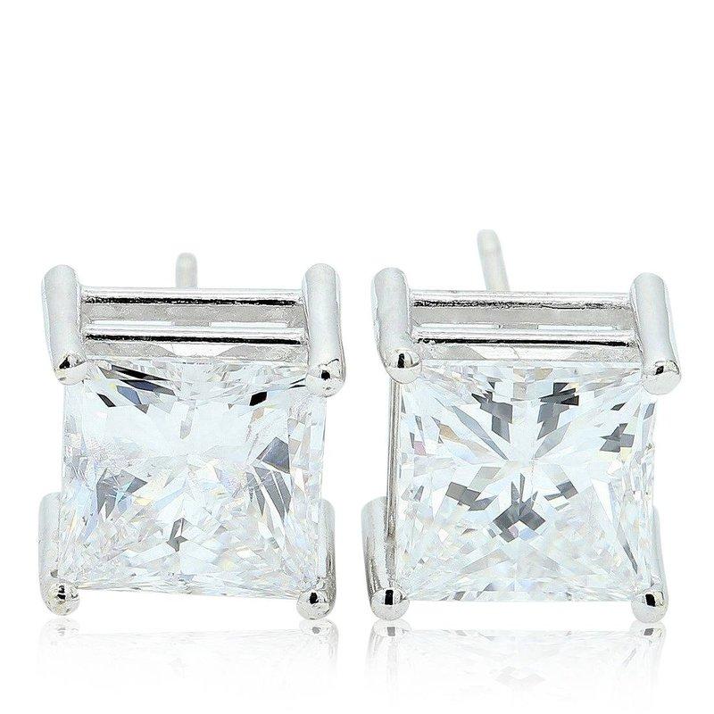 London Gold Designs 4.04 Princess Cut Clarity Enhanced Diamond Studs