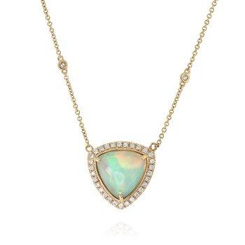 Opal Halo Necklace 18KY