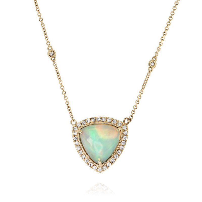 Yael Designs Opal Halo Necklace 18KY