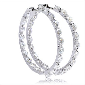 Round Diamond Inside-Out Hoops 18KW