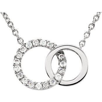 Dainty Interlocking Circle Necklace 14KW