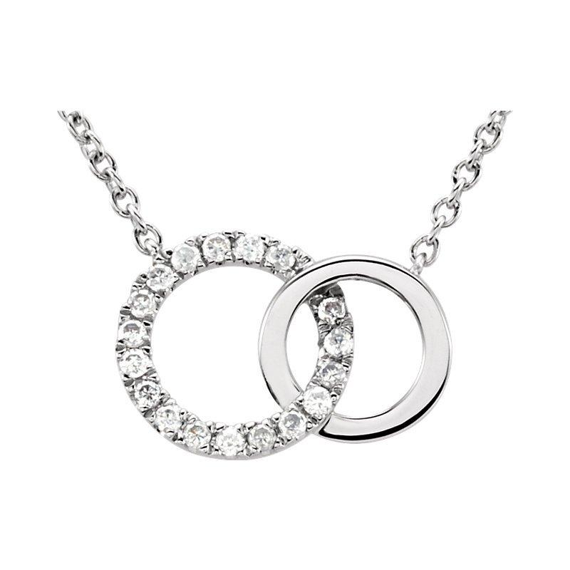 Gallery Designs Dainty Interlocking Circle Necklace 14KW