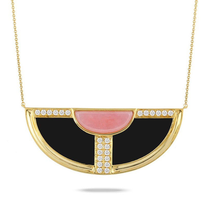 Doves Pink Opal & Black Onyx Necklace 18KY