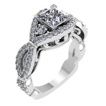 Vintage Engagement Ring 18KW - Setting Only